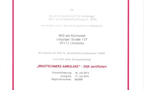 """""""Brustschmerz-Ambulanz"""" – DGK Zertifikat"""