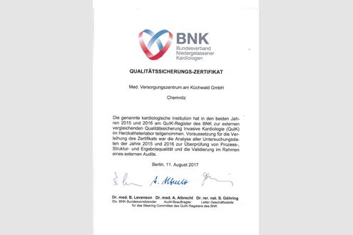 Qualitätssicherungs-Zertifikat