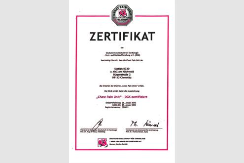 """""""Chest Pain Unit"""" – DGK Zertifikat"""