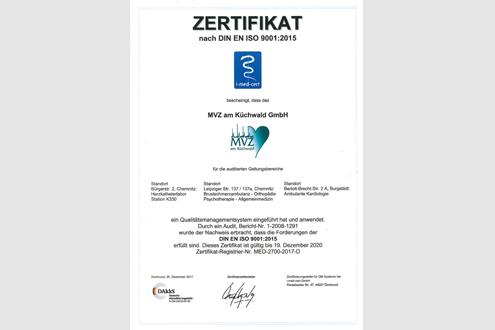 Zertifikat nach  DIN EN ISO 9001:2015